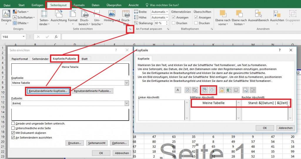 In Excel-Tabellen die Kopfzeile bearbeiten
