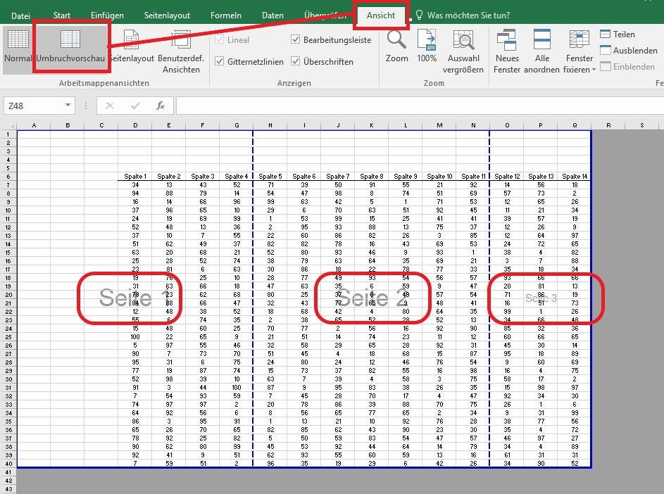 Excel-Tabellen: Umbruchvorschau