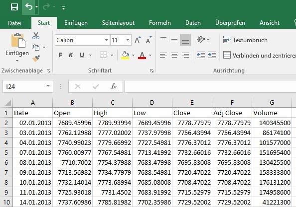 Mit dem Text in Spalten Befehl Daten importieren