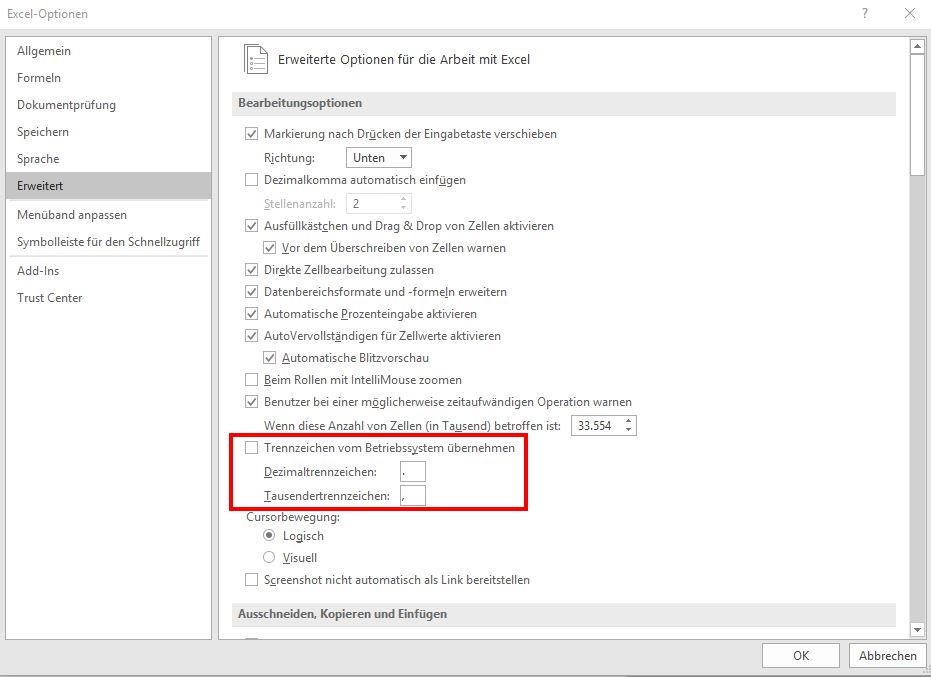 Excel Dezimaltrennzeichen: Komma und Punkt umstellen