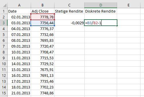 Stetige Rendite in Excel berechnen
