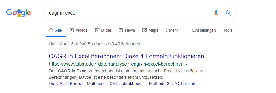 CAGR in Excel in der Google Suche