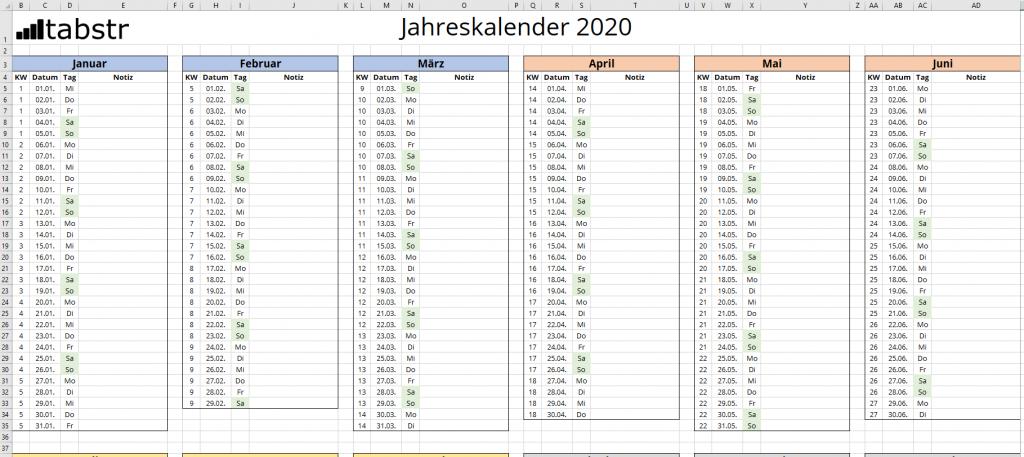 Excel Kalender selbst erstellen